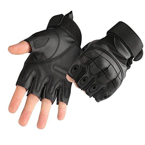 AGLT Taktische fingerlose / halbe Finger Handschuhe für Schießen, Militär, Kampfhandschuhe, mit hartem Knöchel, Passform für Radfahren, Airsoft, Paintball, Motorrad, Wandern XL Schwarz