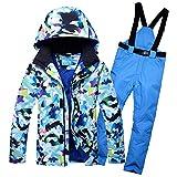 KLGZ Completo da Sci da Uomo Invernale, Giacca e Pantaloni da Snowboard Impermeabili Antivento all'aperto Blue-XXL
