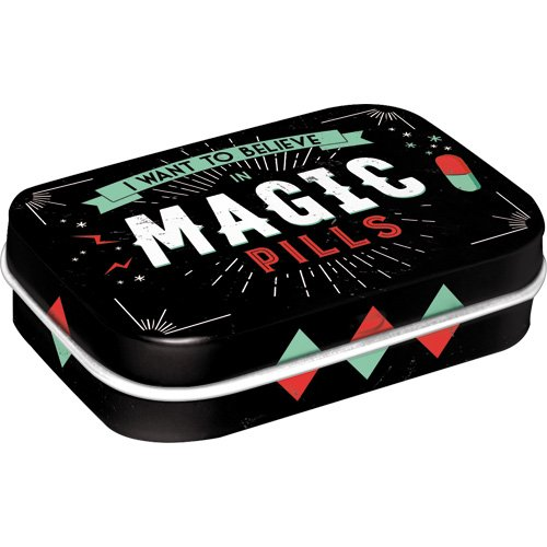 Nostalgic-Art 81331 Nostalgic Pharmacy - Magic Pills | Pillen-Dose | Bonbon-Box | Metall | mit Pfefferminz-Dragees, 15g