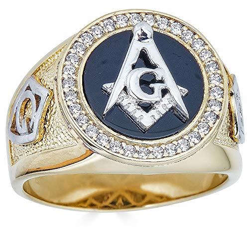 Solid 925 Sterling Silver - Mens Freemason Ring - Black Onyx 14k Gold Finish Masonic Ring - Sizes 7-13 (13)