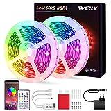 Tiras LED 10M Bluetooth, WEILY impermeable Sincronización de música luces led musica RGB Tira de luz LED que cambian...