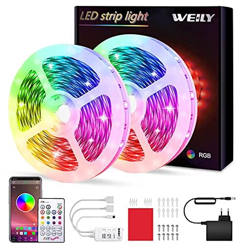 Tiras LED 10M Bluetooth, WEILY impermeable Sincronización de música luces led musica RGB Tira de luz LED que cambian de color