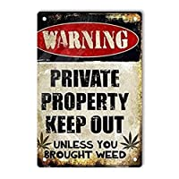 RCY-T Retro Warning Private Property Keep Out サイン, 軽量アルミ壁の装飾ヴィンテージサイン for Men Cave Coffee Bar Home Garage Movie 20x30cm