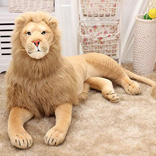 zxddzl Simulation Lion Doll Domineering Plush toy About 120 Cm, Home Decoration Pillow Children'S Day Men'S And Women'S Birthday Gifts