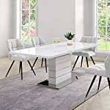 <span class='highlight'>Cherry</span> <span class='highlight'>Tree</span> <span class='highlight'>Furniture</span> Hayne White High Gloss Extending 6-8 Seater <span class='highlight'>Dining</span> <span class='highlight'>Table</span> with Stainless Steel Base