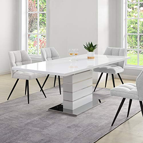 Cherry Tree Furniture Hayne White High Gloss Extending 6-8 Seater Dining Table with Stainless Steel Base
