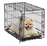 Dog Crate 1522| MidWest, Crate XS Folding Metal Dog Crate w/ Divider Panel, Floor Protecting Feet & Leak-Proof Dog Tray | 22L x 13W x 16H inches, XS Dog Breed, Black