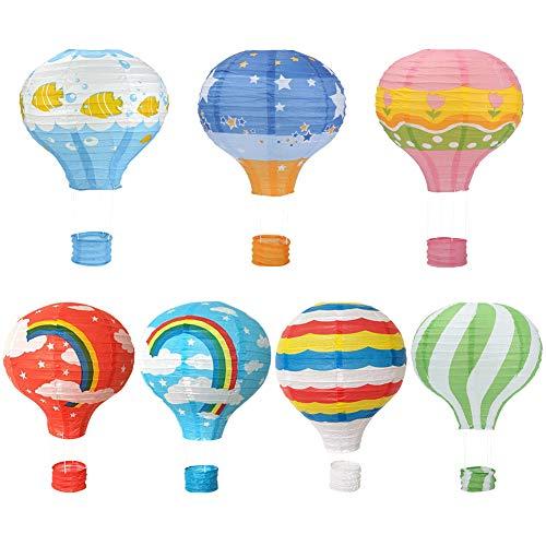 HANGNUO Papierlaternen mit Heißluftballon-Motiv, zum Aufhängen, 7 Farben, Regenbogen, Stern, Cartoon-Tierblumen, Streifen, 7 Stück