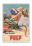 Pacifica Island Art - Glückliche Meerjungfrau - PREP Hautcreme - Retro Werbeplakat von Erasmo Ferrante c.1950s - Kunstdruck 33 x 48 cm