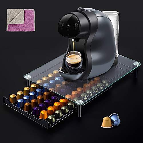 MASTERTOP Kaffee Ständer,Kaffee-Kapselhalter für 60 Kaffeepads mit Doppelseitiges Reinigungstuch,Aufbewahrungsbox für Kapseln aus gehärtetem Glas