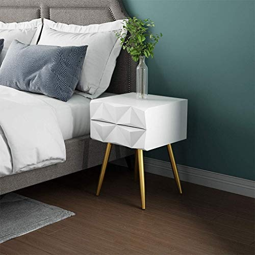 SQQSLZY White Espresso Bedside Table Side Coffee Table with Drawer Locker Bedside Side Nordic Wrought Iron Bedside Table Simple Double-layer Bedside Storage Cabinet Color: White