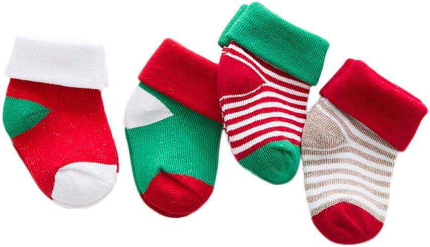 Cheap sale Vaskey 4 Pairs Kids Christmas Socks Fuzzy Winter Cotton Bargain Holiday