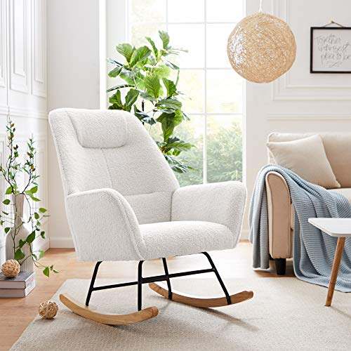 Tribesigns Solid Wood Rocking Chair Armchair, Modern Accent Chair Single Sofa Chair Upholstered Microfiber Lamb Wool Nap Chair for Nursery Living Room Bedroom Office Small Space (White)