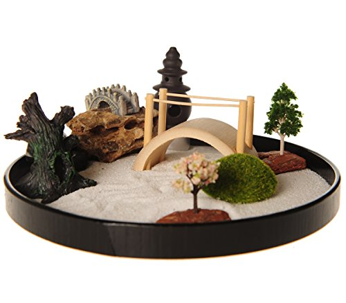 ICNBUYS Zen Garden with Boat Bridge Japanese Censers Set...