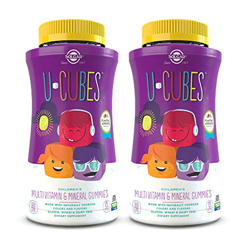 Solgar U-Cubes Children's Multi-Vitamin & Minerals, 120 Gummies - Pack of 2 - 3 Great-Tasting Flavors, Grape, Orange & Cherry - Ages 2 & Up - Non-GMO, Gluten Free, Dairy Free - 120 Total Servings