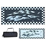 Ming's Mark HC1 Stylish Camping Reversible Graphic Patio Mat - 8' x 20', Checkered Flags