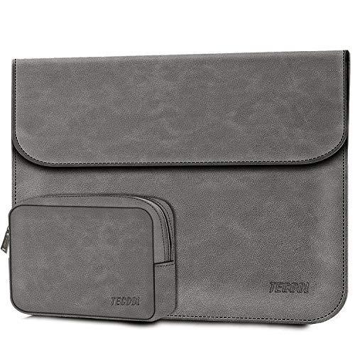 TECOOL 12.3-13 Zoll Laptop Hülle Tasche Faux Wildleder Leder Notebook Schutzhülle und Zubehörtasche für 2018-2020 MacBook Air 13 A1932/A2179, 2016-2020 MacBook Pro 13, Surface Pro X/7/6/5/4/3 - Grau