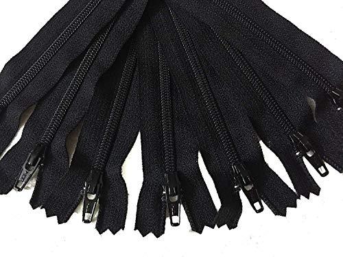 Craftbot Schwarz YKK Reißverschluss für Kleider Röcke Taschen Beutel 10 Stück, ABCD, 10