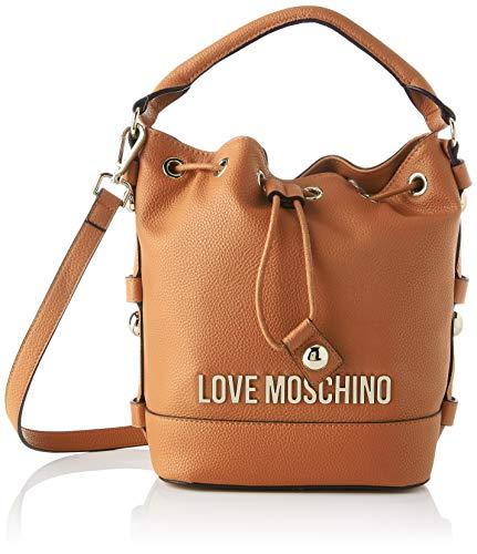 Love Moschino Precollezione ss57, Borsa a Secchiello da Donna, Lettering Logo, Cammello, Normal