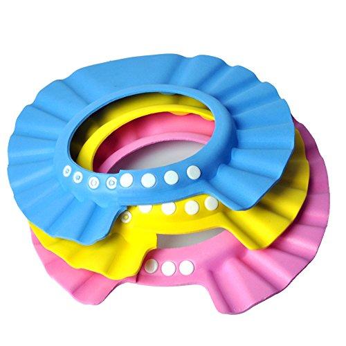 3 pcs imperméable à l'eau Douche Douche Douche Douche Douche Protection Capuchon souple pour enfants Bébé Enfant (rose, bleu, jaune)
