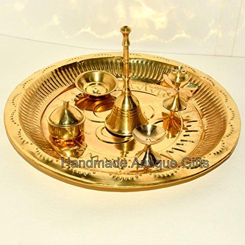 "7 /"" Kupfer Pooja Platte Hindu Puja Thali Arti Om Gayatri Mantra Diwali Religiös"