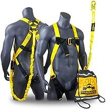 KwikSafety (Charlotte, NC) SCORPION Safety Harness w/attached 6ft. Tubular Lanyard on back   OSHA ANSI Fall Protection   INTERNAL Shock Absorbing Lanyard   Construction Carpenter Scaffolding