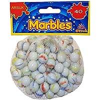 ARSUK Canicas de Cristal, Glasmurmeln, marmoles de Cristal, Vidrio Modelado Colorido Perlas Bolas de Cristal para niños (40 Piezas de mármol lechoso)