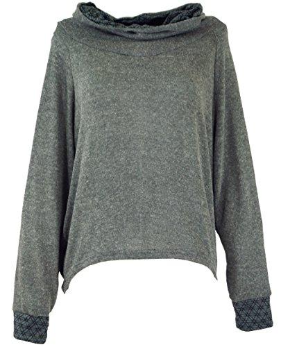 GURU SHOP Hoody, Sweatshirt, Pullover, Kapuzenpullover, Damen, Grau, Baumwolle, Size:M/L (40), Pullover, Longsleeves & Sweatshirts Alternative Bekleidung