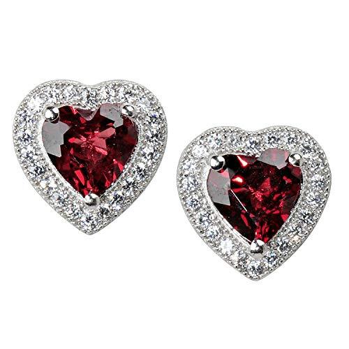 ONLY YOU by Frank Trautz Women's Heart Stud Earrings Silver 925 Zirconia Red White