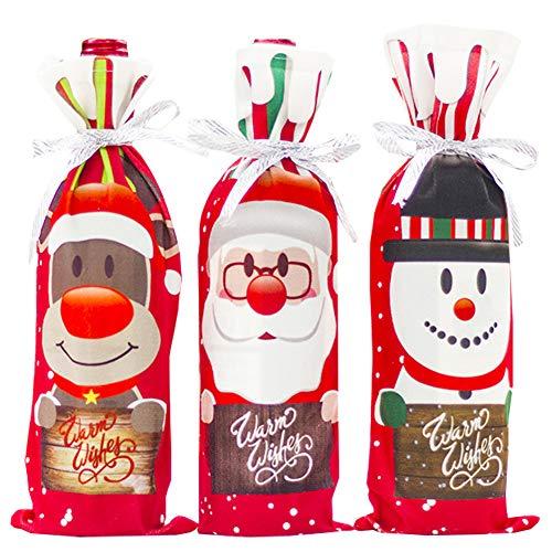 SZWL Navidad Funda para Botella de Vino, Paquete de 6 Bolsas de Fundas para Botellas de Vino, Papá Noel, Navidad,...