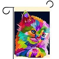庭の旗芝生の装飾庭の装飾屋外の農家の装飾ホオジロ旗カラフルな動物の猫のスタイル 両面バナー