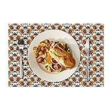 Eloria - Set di 6 tovagliette all'americana con motivo floreale, resistenti al calore, per tavolo da pranzo, in tela di cotone, colore: bianco, dimensioni: 45 x 30 cm