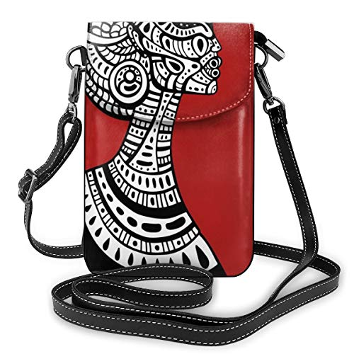 Women Small Cell Phone Purse Crossbody,Hand Drawn Ethno Cultural Themed Portrait Artistic Complex Figures