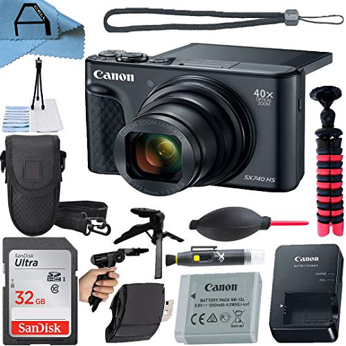 Canon PowerShot SX740 HS Digital Camera 20.3MP Sensor with SanDisk 32GB Memory Card, Case, Tripod and A-Cell Accessory Bundle (Black)