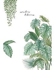 Groene Planten Muurstickers Nordic Breedbladige Behang Muur Decor voor Woonkamer Slaapkamer Studie zelfklevende Verwijderbare Milieubescherming Decals