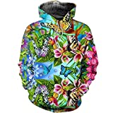 ryyhd 3D All Over Printed Flower Mariposas Hombres Mujeres Sudadera con Capucha Casual Stre-We23_XS