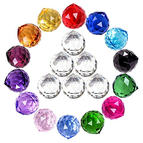 MerryNine Mixed Colorful Crystal Ball Prism with Drilled Hole Suncatcher Rainbow Pendants Maker Hanging Crystals Prisms for Windows for Feng Shui for GiftPrismBall20mm Colorful