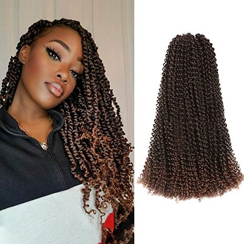7Pcs Passion Twist Hair 18 Inch Ombre Blonde Long Bohemian Braids for Passion Twist Crochet Braiding Hair Synthetic Fiber Natural Hair Extension (18'7pcs, T30)