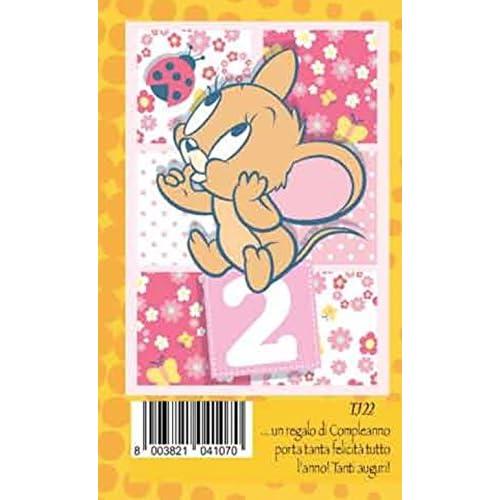 Marpimar Biglietto Auguri Compleanno 2 anni rosa bambina JERRY warner bros