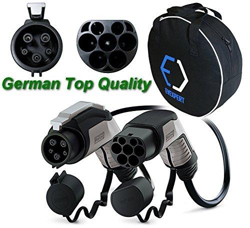PHOENIX CONTACT Excellent câble de charge allemand pour véhicule électrique (mieux seconde génération) Type2 - Type1 | 32 A | Monophasé | Longueur: 4 m | 7,4 kW + compris un sac de transport compact