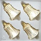 4 TLG. Glas-Glocken Set in Ice Champagner Gold Regen - Christbaumkugeln - Weihnachtsschmuck-Christbaumschmuck
