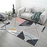 alfombra antideslizante Gris Alfombra de sala de estar gris desordenado geométrico moderno múltiple alfombra antideslizante decoracion comedor 80X160CM alfombra niña habitacion 2ft 7.5''X5ft 3''