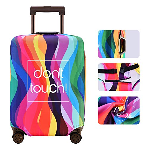 Luggage Cover Anti-scratch Baggage Cover Protector Washable Dust Thicken Elasticity Cover Travel for 18-32inch Luggage (Rainbow,...