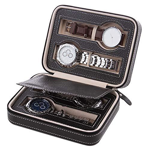 Angmile Elegante caja de presentación de reloj Material de cuero de PU Contenedor de almacenamiento de viaje Multi ranura Multi color Gran regalo para padre, novio, esposo