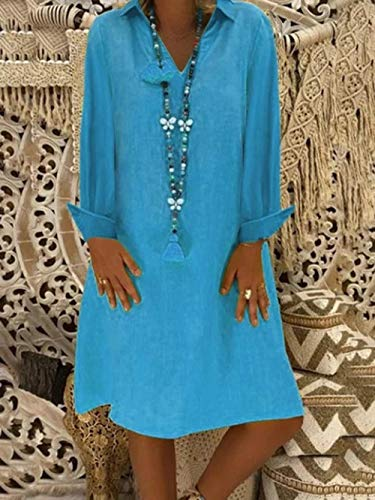 Vestidos De Fiesta Vestir Dress Mujer Niña Vestido Recto hasta La Rodilla Manga Larga con Cuello En V Mujer Dama Vestido Suelto Vestidos De Moda Casual -Azul_S