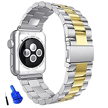 HUANLONG Compatible with Apple Watch Band Solid Stainless Steel Metal Replacement Watchband Bracelet with Compatible with iWatch Series 1/2/3/4/5 Silver/Gold 42mm