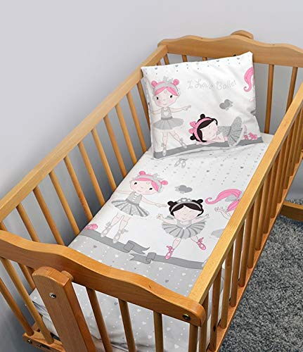 Lot de 4 pièces, convient pour berceau, lit bébé/Lit bébé lit, lit junior – Couette et Taies d'oreiller