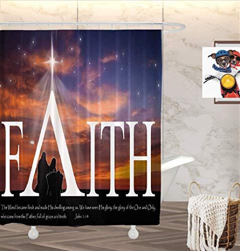 GOOESING Jesus Shower Curtain, Christmas Nativity Scene Baby Jesus with Mary and Faith Fabric Bathroom Shower Curtain Home Decorative Polyester Bath Curtain with 12 Hooks