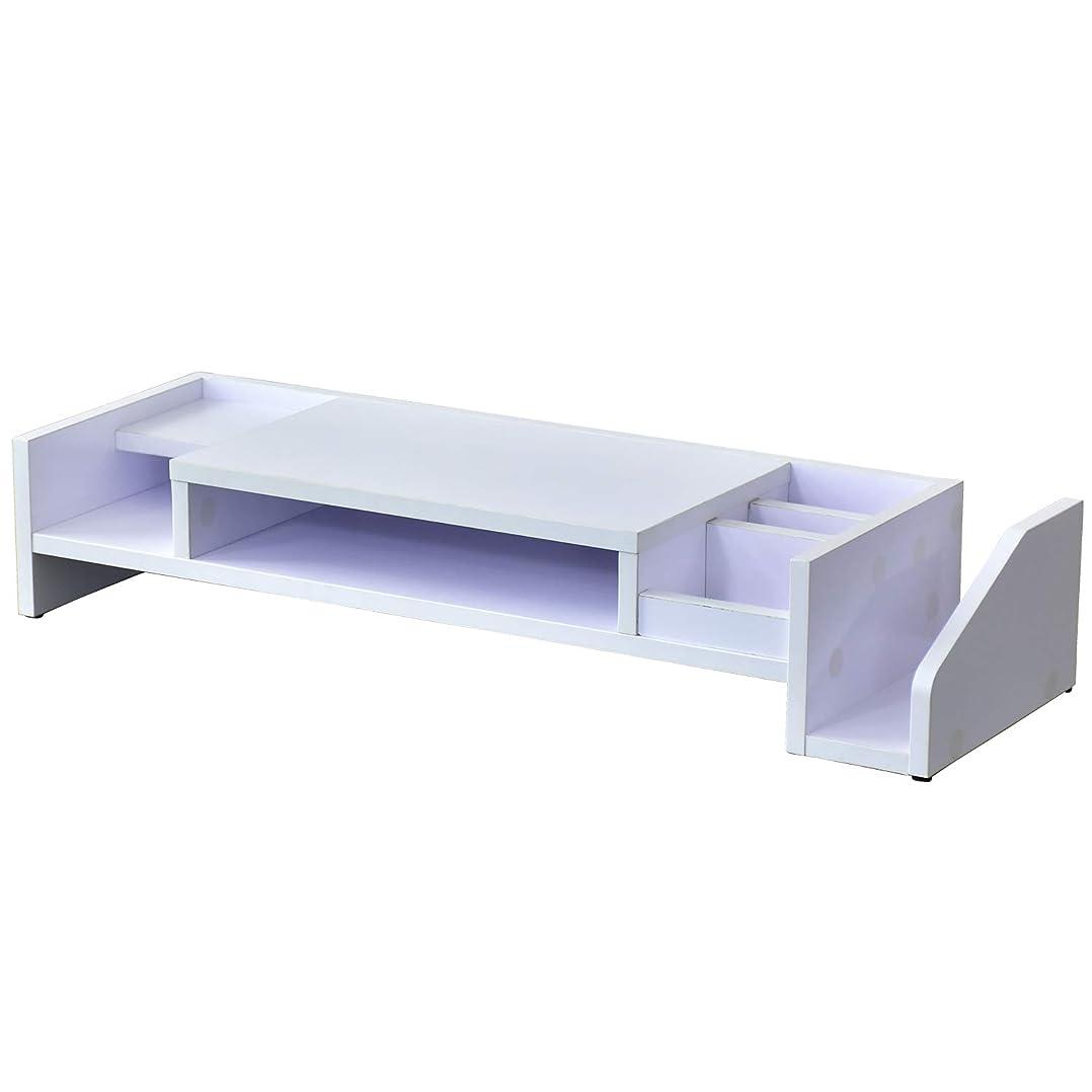 想定薄暗い行DORIS 机上台 2段収納 木製 幅77.5cm 高さ14cm モニター台 卓上 スマホスタンド ブックスタンド 組立式 ホワイト キエットプラス