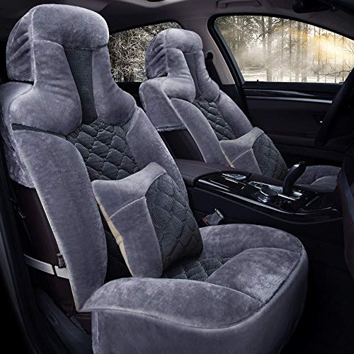 DHJP Car Seat Cover, Winter Plush 5-seater Car Seat Cushion Compatible With Airbag Front And Rear Breathable Comfortable Protective Cushion (Color : Gray)